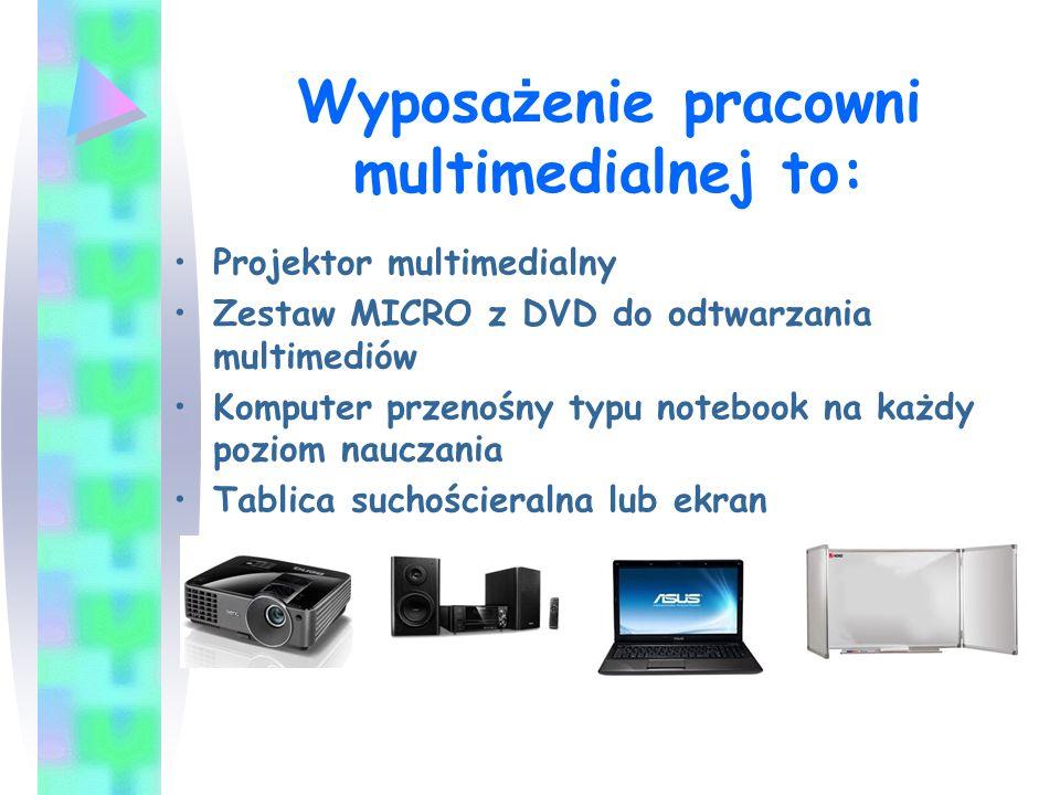 Wyposa ż enie pracowni multimedialnej to: Projektor multimedialny Zestaw MICRO z DVD do odtwarzania multimediów Komputer przenośny typu notebook na ka