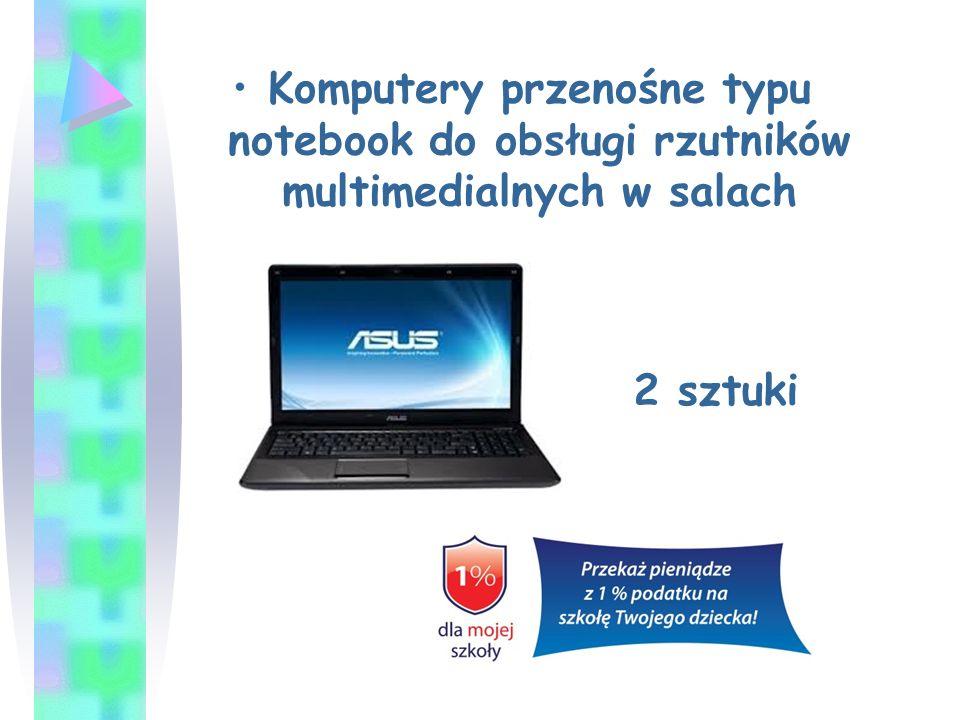 Komputery przenośne typu notebook do obsługi rzutników multimedialnych w salach 2 sztuki