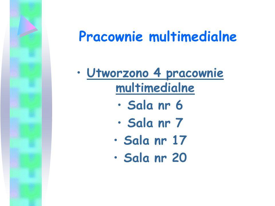 Wyposa ż enie pracowni multimedialnej to: Projektor multimedialny Zestaw MICRO z DVD do odtwarzania multimediów Komputer przenośny typu notebook na każdy poziom nauczania Tablica suchościeralna lub ekran