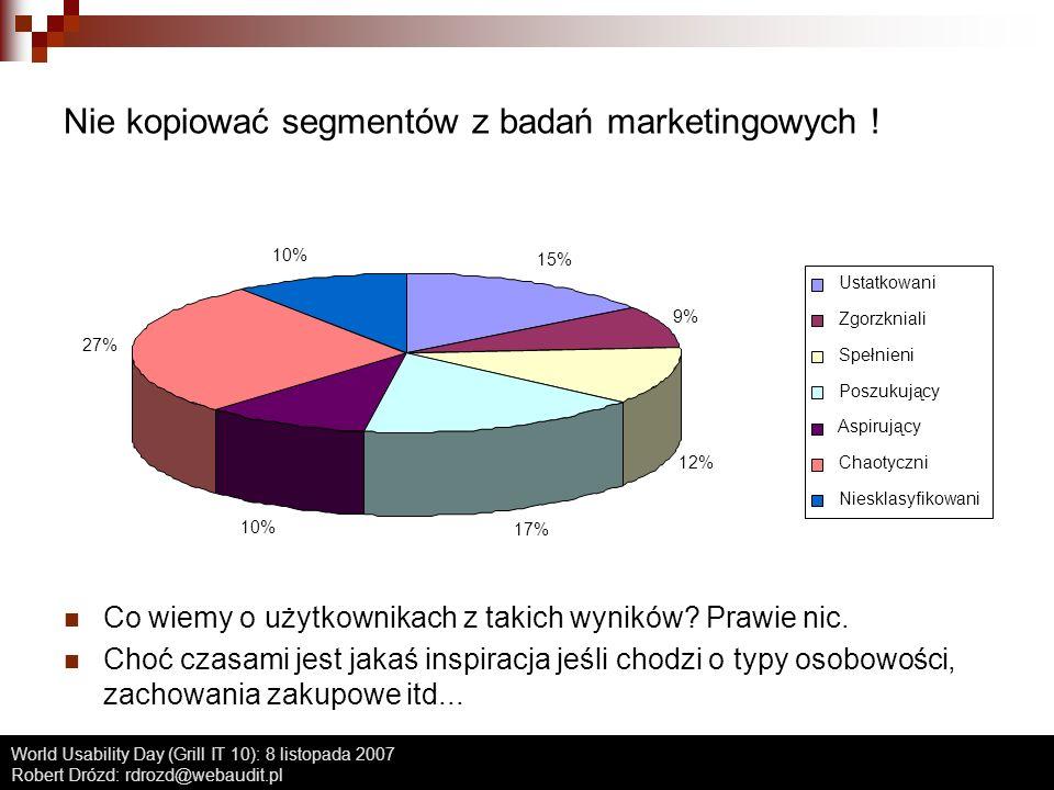 World Usability Day (Grill IT 10): 8 listopada 2007 Robert Drózd: rdrozd@webaudit.pl Nie kopiować segmentów z badań marketingowych ! Co wiemy o użytko