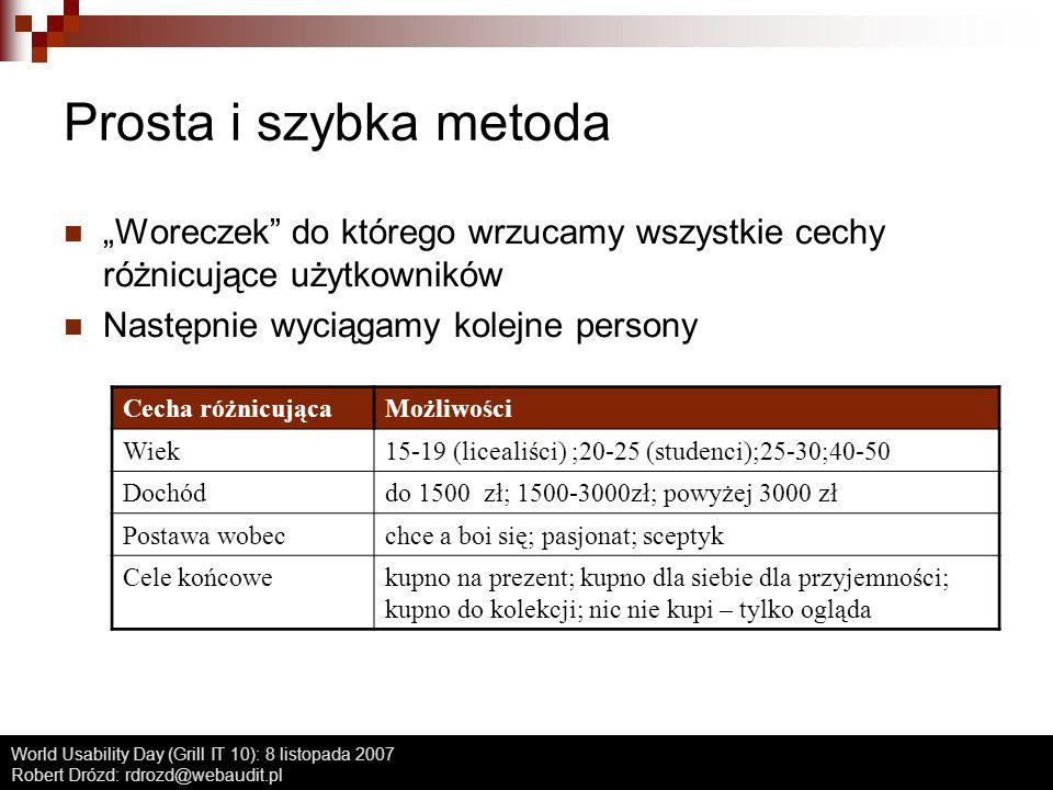 World Usability Day (Grill IT 10): 8 listopada 2007 Robert Drózd: rdrozd@webaudit.pl Prosta i szybka metoda Cecha różnicującaMożliwości Wiek15-19 (lic