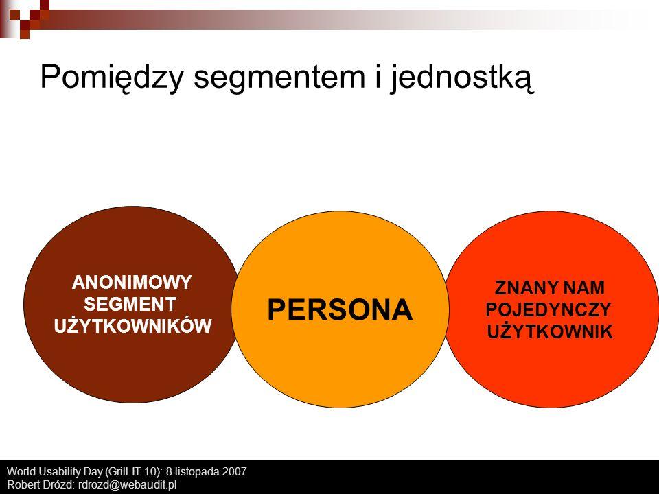 World Usability Day (Grill IT 10): 8 listopada 2007 Robert Drózd: rdrozd@webaudit.pl Rodzaje person Persona główna - czyli typowy użytkownik, ten który MUSI być zadowolony Persony poboczne - inni użytkownicy, którzy pojawiają się w systemie Persona skrajna - czyli koszmar projektantów (i możliwość uwzględnienia dostępności) Persona negatywna (rzadko) - czyli dla kogo NIE projektujemy Przygotowujemy nie więcej niż 5-6 person!