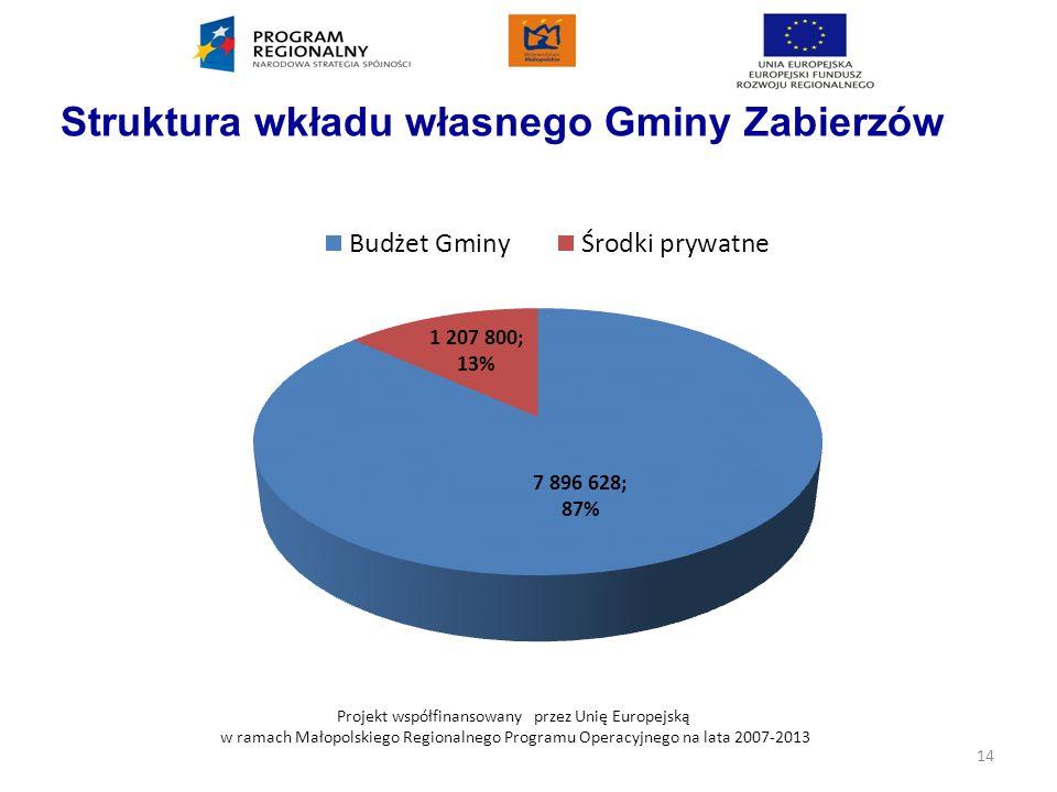 Projekt współfinansowany przez Unię Europejską w ramach Małopolskiego Regionalnego Programu Operacyjnego na lata 2007-2013 Struktura wkładu własnego G
