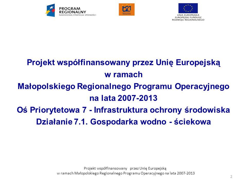 Projekt współfinansowany przez Unię Europejską w ramach Małopolskiego Regionalnego Programu Operacyjnego na lata 2007-2013 Projekt współfinansowany pr