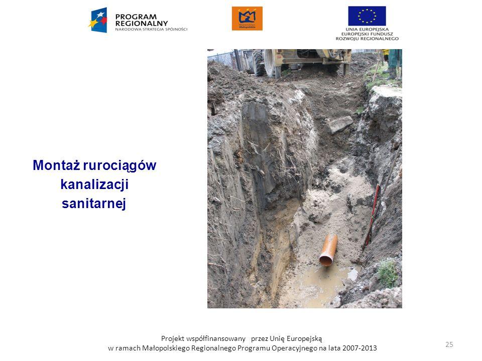 Projekt współfinansowany przez Unię Europejską w ramach Małopolskiego Regionalnego Programu Operacyjnego na lata 2007-2013 Montaż rurociągów kanalizac