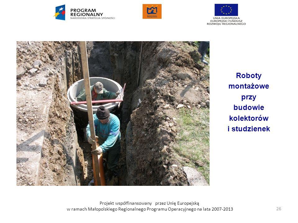 Projekt współfinansowany przez Unię Europejską w ramach Małopolskiego Regionalnego Programu Operacyjnego na lata 2007-2013 Roboty montażowe przy budow