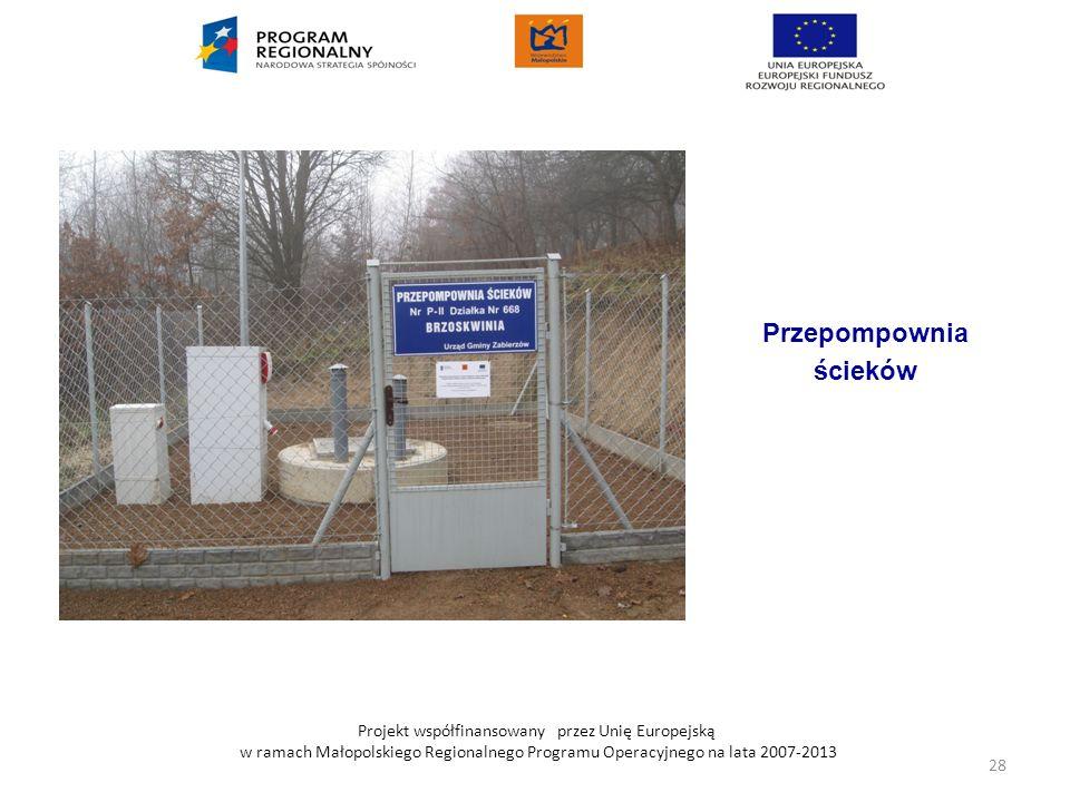 Projekt współfinansowany przez Unię Europejską w ramach Małopolskiego Regionalnego Programu Operacyjnego na lata 2007-2013 Przepompownia ścieków 28