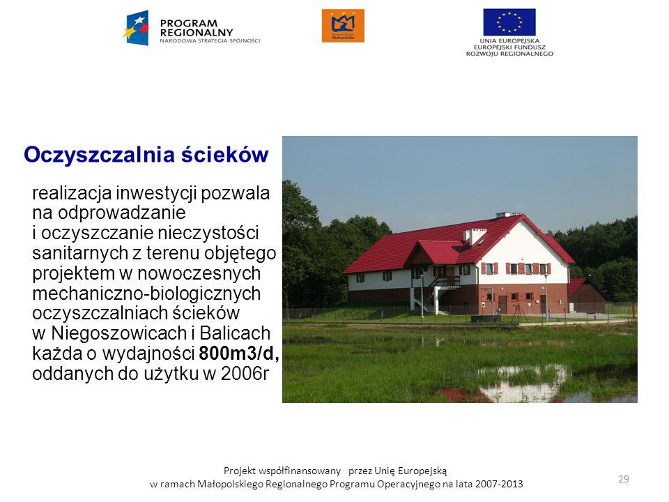 Projekt współfinansowany przez Unię Europejską w ramach Małopolskiego Regionalnego Programu Operacyjnego na lata 2007-2013 Oczyszczalnia ścieków reali
