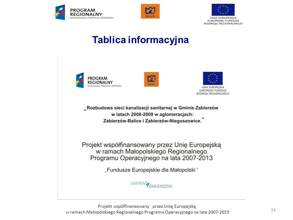 Projekt współfinansowany przez Unię Europejską w ramach Małopolskiego Regionalnego Programu Operacyjnego na lata 2007-2013 Tablica informacyjna 34