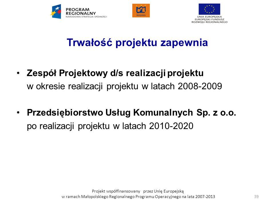 Projekt współfinansowany przez Unię Europejską w ramach Małopolskiego Regionalnego Programu Operacyjnego na lata 2007-2013 Trwałość projektu zapewnia