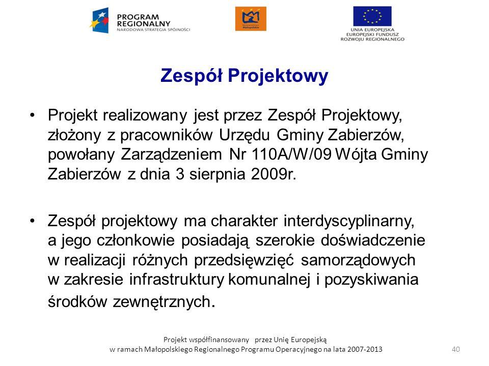 Projekt współfinansowany przez Unię Europejską w ramach Małopolskiego Regionalnego Programu Operacyjnego na lata 2007-2013 Zespół Projektowy Projekt r