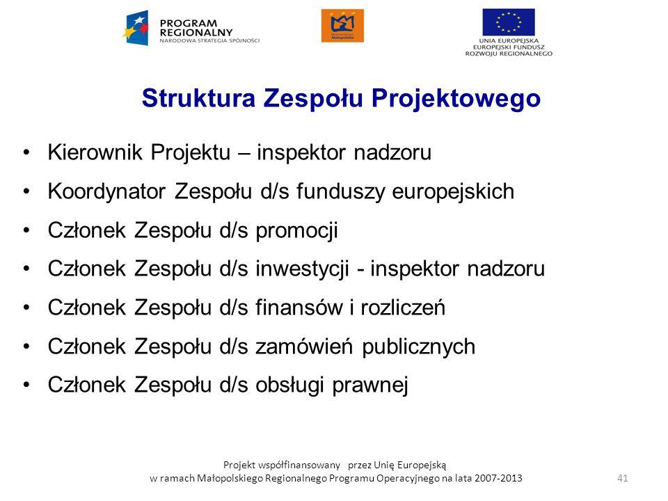 Projekt współfinansowany przez Unię Europejską w ramach Małopolskiego Regionalnego Programu Operacyjnego na lata 2007-2013 Struktura Zespołu Projektow