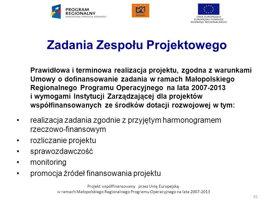 Projekt współfinansowany przez Unię Europejską w ramach Małopolskiego Regionalnego Programu Operacyjnego na lata 2007-2013 Zadania Zespołu Projektoweg