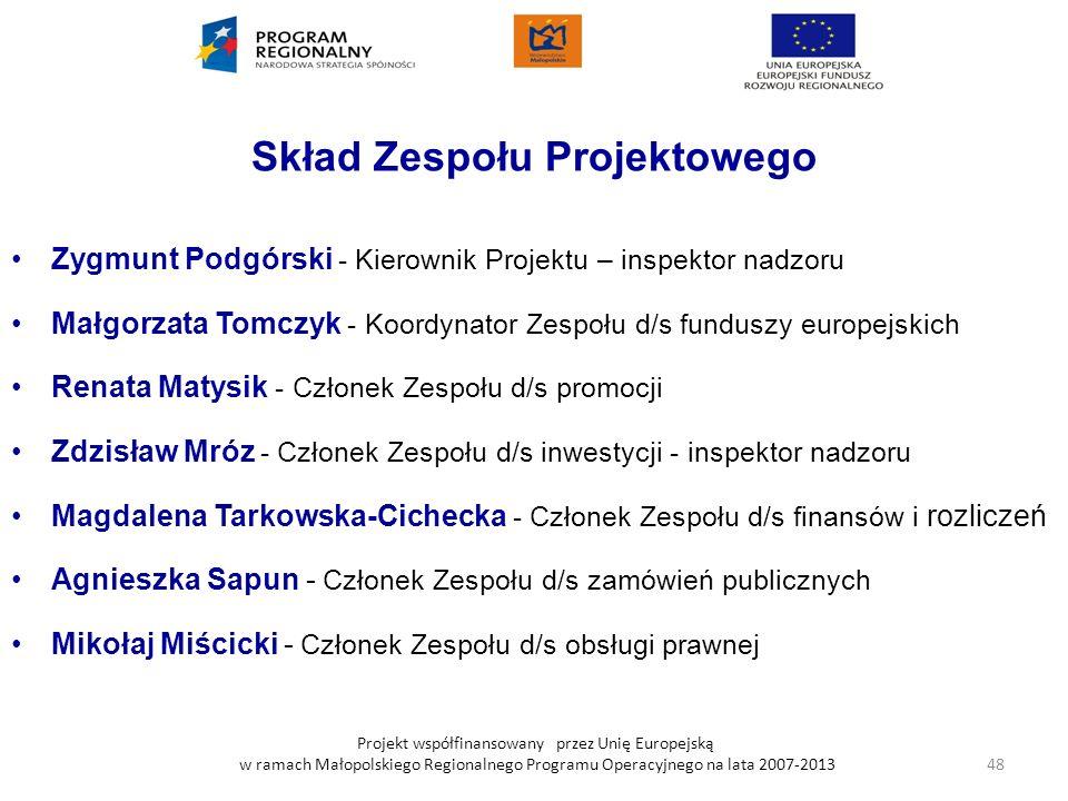 Projekt współfinansowany przez Unię Europejską w ramach Małopolskiego Regionalnego Programu Operacyjnego na lata 2007-2013 Skład Zespołu Projektowego