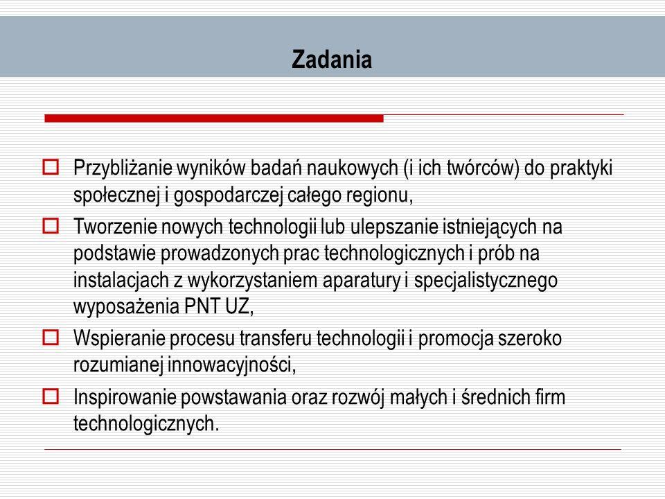 Zadania Przybliżanie wyników badań naukowych (i ich twórców) do praktyki społecznej i gospodarczej całego regionu, Tworzenie nowych technologii lub ul