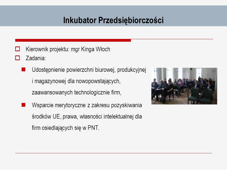 Inkubator Przedsiębiorczości Kierownik projektu: mgr Kinga Włoch Zadania: Udostępnienie powierzchni biurowej, produkcyjnej i magazynowej dla nowopowst