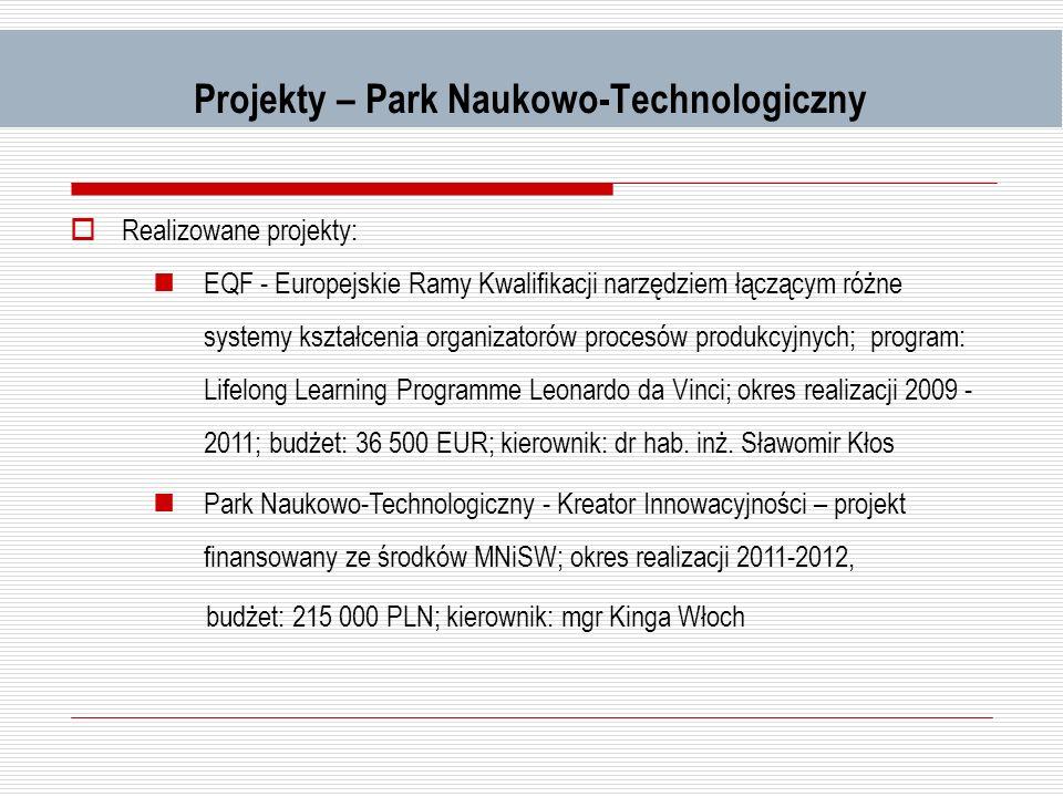 Projekty – Park Naukowo-Technologiczny Realizowane projekty: EQF - Europejskie Ramy Kwalifikacji narzędziem łączącym różne systemy kształcenia organiz