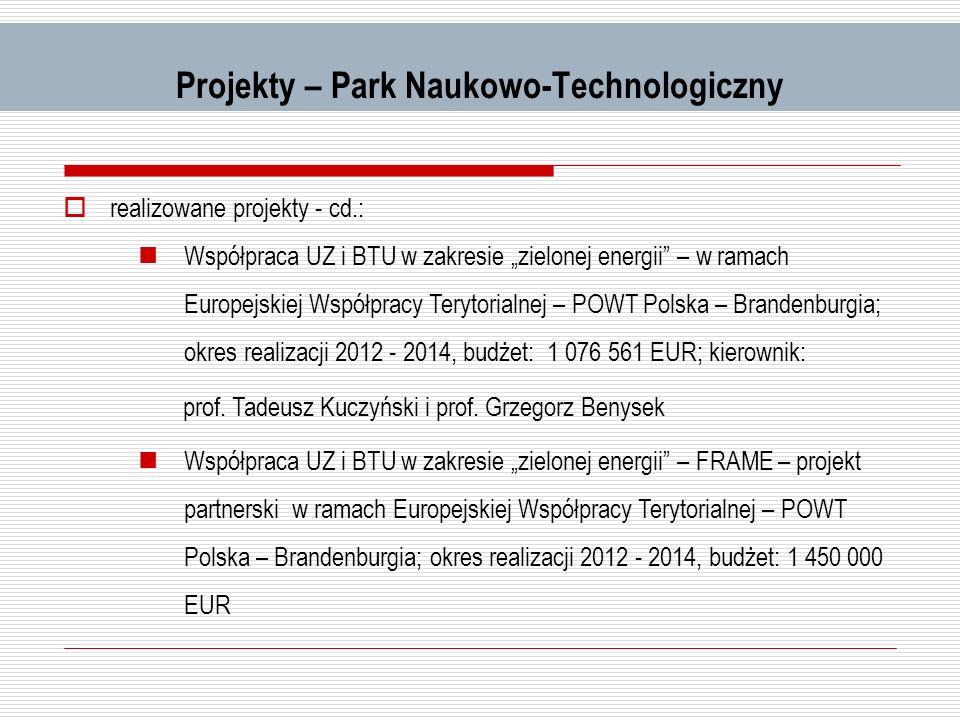 Projekty – Park Naukowo-Technologiczny realizowane projekty - cd.: Współpraca UZ i BTU w zakresie zielonej energii – w ramach Europejskiej Współpracy