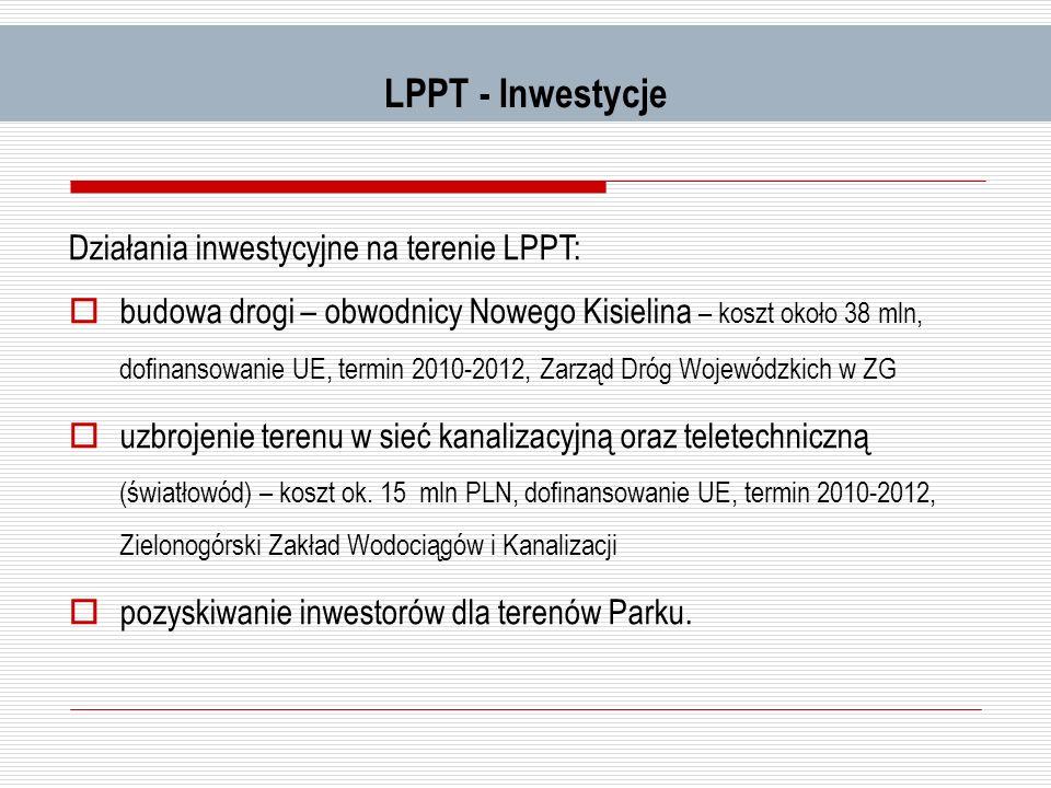LPPT - Inwestycje Działania inwestycyjne na terenie LPPT: budowa drogi – obwodnicy Nowego Kisielina – koszt około 38 mln, dofinansowanie UE, termin 20
