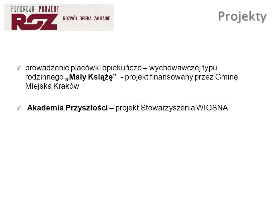 prowadzenie placówki opiekuńczo – wychowawczej typu rodzinnego Mały Książę - projekt finansowany przez Gminę Miejską Kraków Akademia Przyszłości – pro