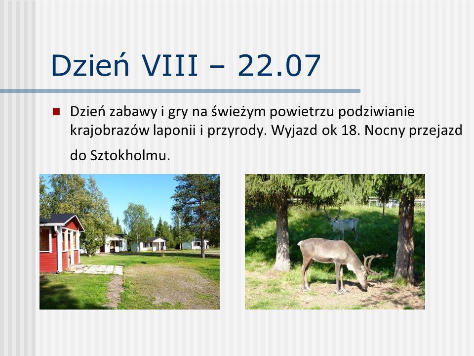 Dzień VIII – 22.07 Dzień zabawy i gry na świeżym powietrzu podziwianie krajobrazów laponii i przyrody. Wyjazd ok 18. Nocny przejazd do Sztokholmu.