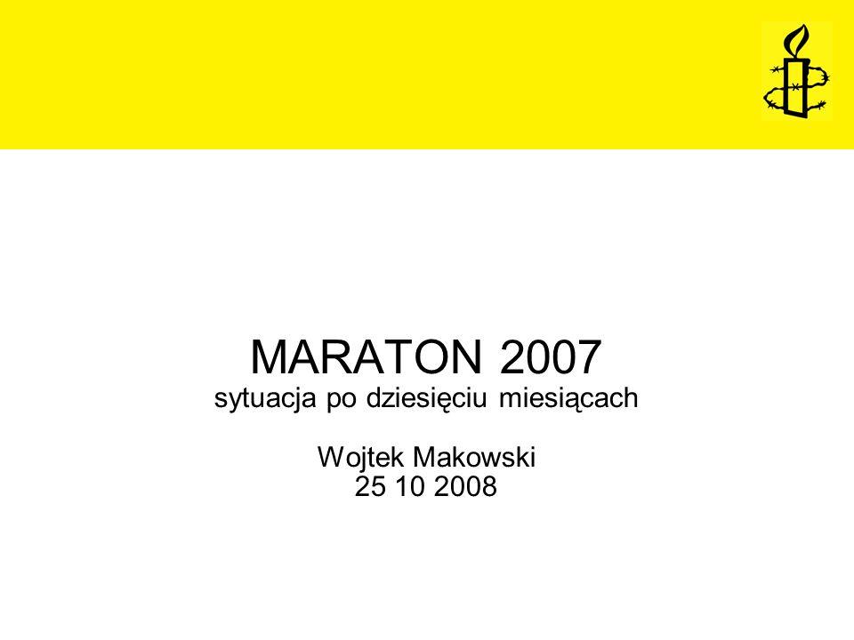 MARATON 2007 sytuacja po dziesięciu miesiącach Wojtek Makowski 25 10 2008
