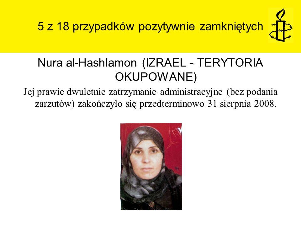 5 z 18 przypadków pozytywnie zamkniętych Nura al-Hashlamon (IZRAEL - TERYTORIA OKUPOWANE) Jej prawie dwuletnie zatrzymanie administracyjne (bez podani