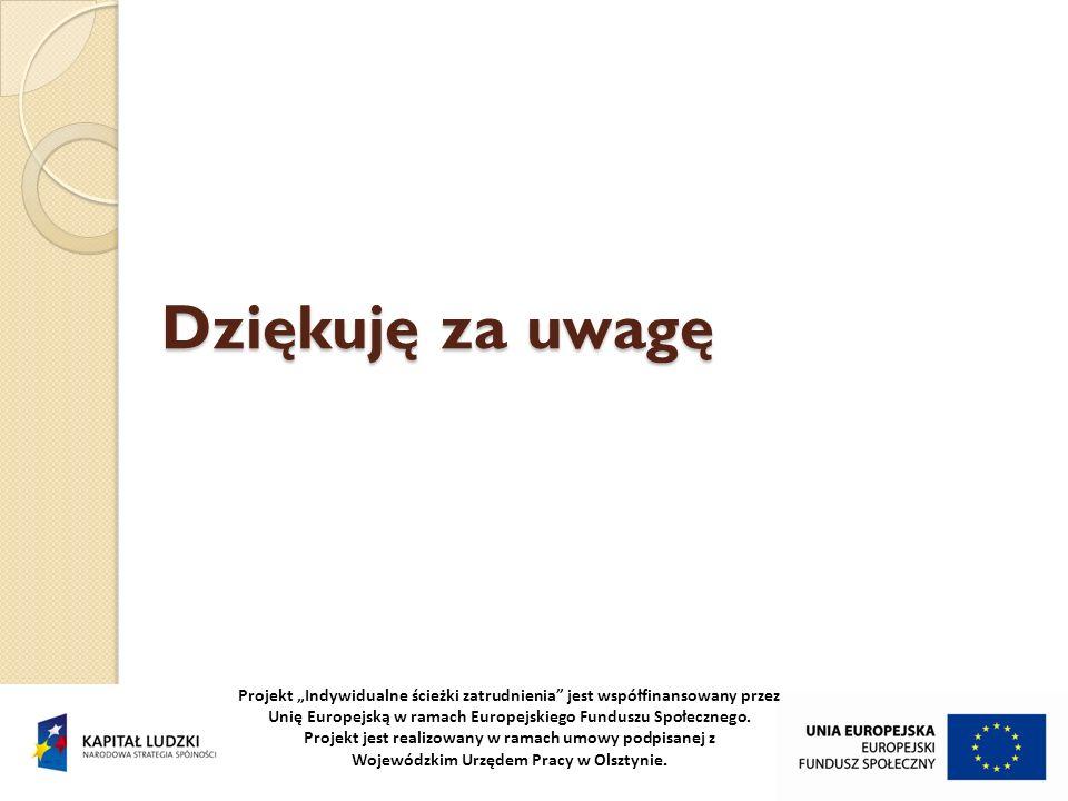 Projekt Indywidualne ścieżki zatrudnienia jest współfinansowany przez Unię Europejską w ramach Europejskiego Funduszu Społecznego. Projekt jest realiz