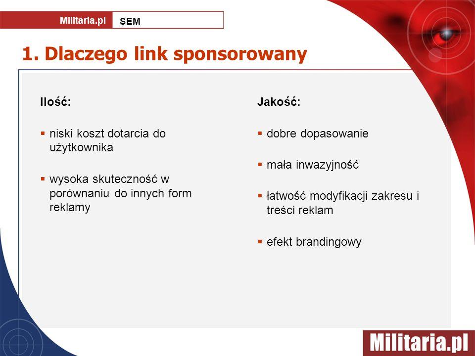 1. Dlaczego link sponsorowany Ilość: niski koszt dotarcia do użytkownika wysoka skuteczność w porównaniu do innych form reklamy Jakość: dobre dopasowa