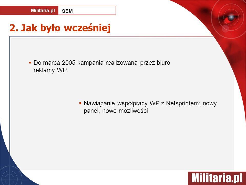 2. Jak było wcześniej Do marca 2005 kampania realizowana przez biuro reklamy WP Nawiązanie współpracy WP z Netsprintem: nowy panel, nowe możliwości Mi