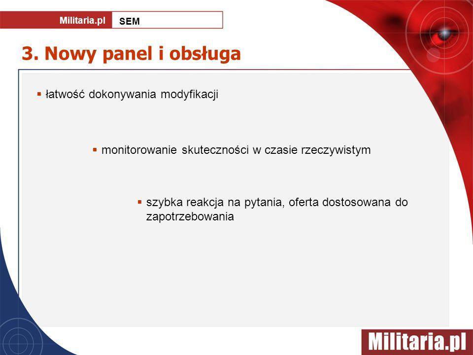 3. Nowy panel i obsługa łatwość dokonywania modyfikacji monitorowanie skuteczności w czasie rzeczywistym szybka reakcja na pytania, oferta dostosowana