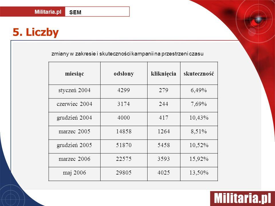 5. Liczby zmiany w zakresie i skuteczności kampanii na przestrzeni czasu miesiącodsłonykliknięciaskuteczność styczeń 200442992796,49% czerwiec 2004317