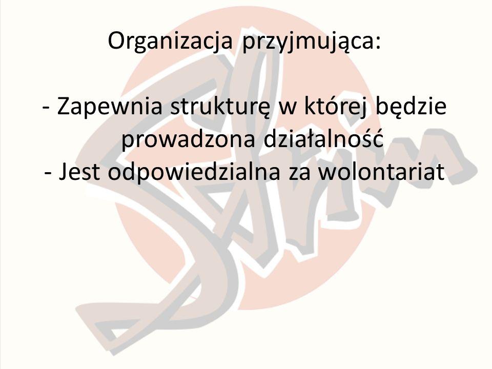 Organizacja przyjmująca: -Zapewnia strukturę w której będzie prowadzona działalność -Jest odpowiedzialna za wolontariat