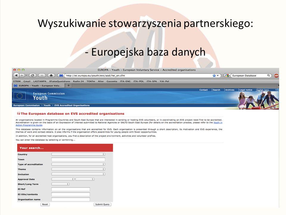 Wyszukiwanie stowarzyszenia partnerskiego: - Europejska baza danych