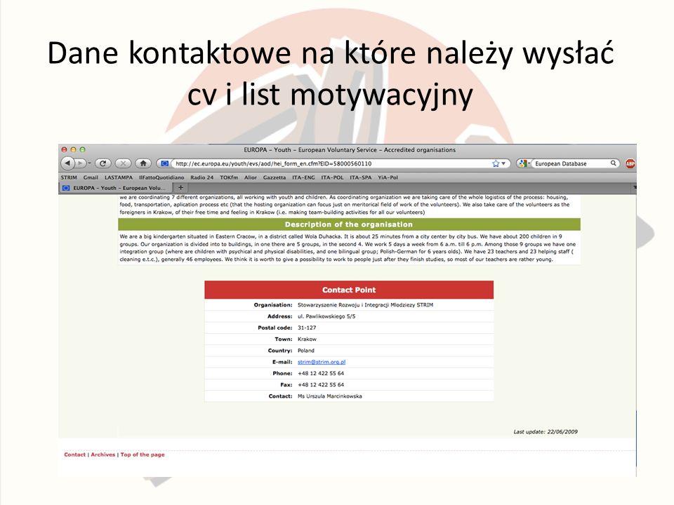 Dane kontaktowe na które należy wysłać cv i list motywacyjny