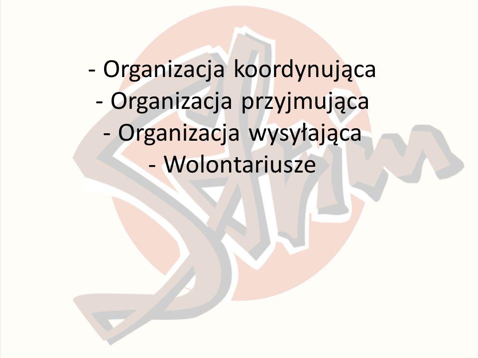 -Organizacja koordynująca -Organizacja przyjmująca -Organizacja wysyłająca -Wolontariusze
