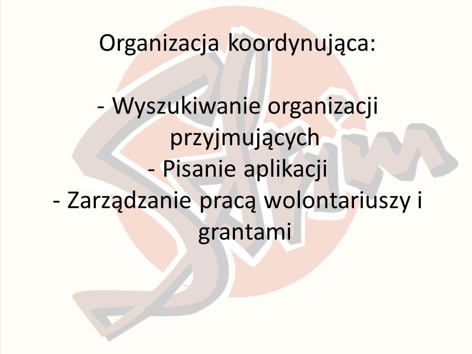 Organizacja koordynująca: -Wyszukiwanie organizacji przyjmujących -Pisanie aplikacji -Zarządzanie pracą wolontariuszy i grantami