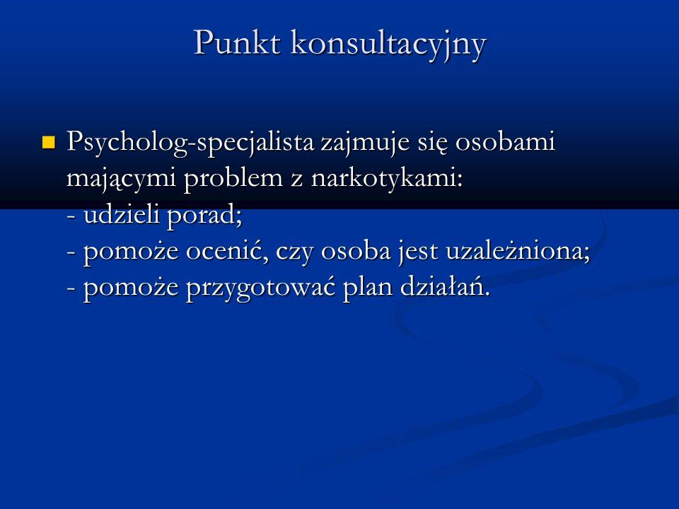 Punkt konsultacyjny Psycholog-specjalista zajmuje się osobami mającymi problem z narkotykami: - udzieli porad; - pomoże ocenić, czy osoba jest uzależn