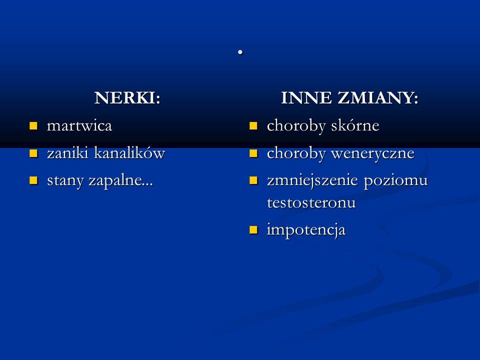 . NERKI: NERKI: martwica martwica zaniki kanalików zaniki kanalików stany zapalne... stany zapalne... INNE ZMIANY: choroby skórne choroby skórne choro