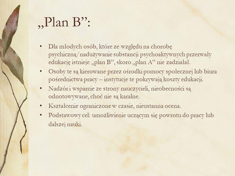 Plan B: Dla młodych osób, które ze względu na chorobę psychiczną/nadużywanie substancji psychoaktywnych przerwały edukację istnieje plan B, skoro plan