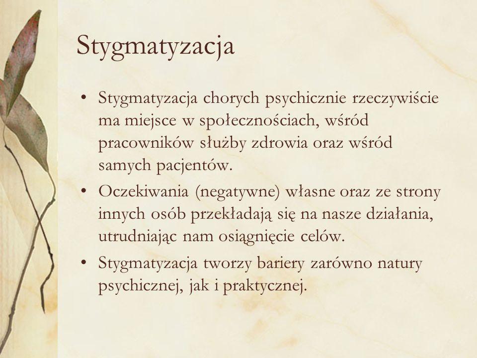 Stygmatyzacja Stygmatyzacja chorych psychicznie rzeczywiście ma miejsce w społecznościach, wśród pracowników służby zdrowia oraz wśród samych pacjentó
