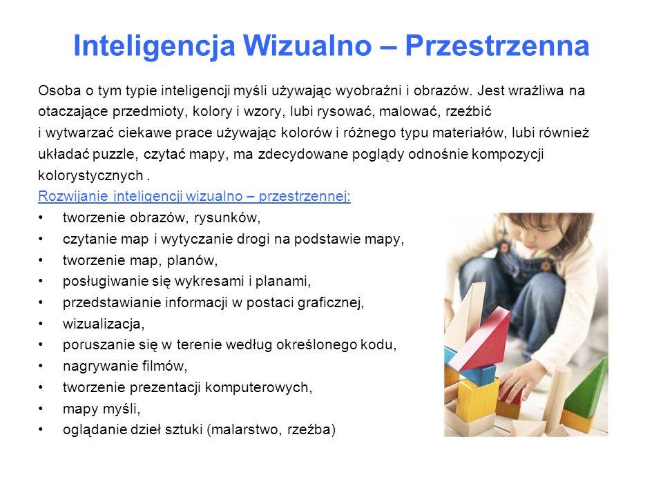 Inteligencja Wizualno – Przestrzenna Osoba o tym typie inteligencji myśli używając wyobraźni i obrazów. Jest wrażliwa na otaczające przedmioty, kolory