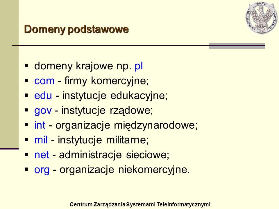 Centrum Zarządzania Systemami Teleinformatycznymi Domeny podstawowe domeny krajowe np. pl com - firmy komercyjne; edu - instytucje edukacyjne; gov - i