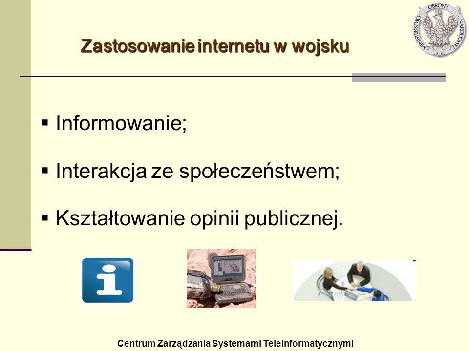 Zastosowanieinternetu w wojsku Zastosowanie internetu w wojsku Centrum Zarządzania Systemami Teleinformatycznymi Informowanie; Interakcja ze społeczeń