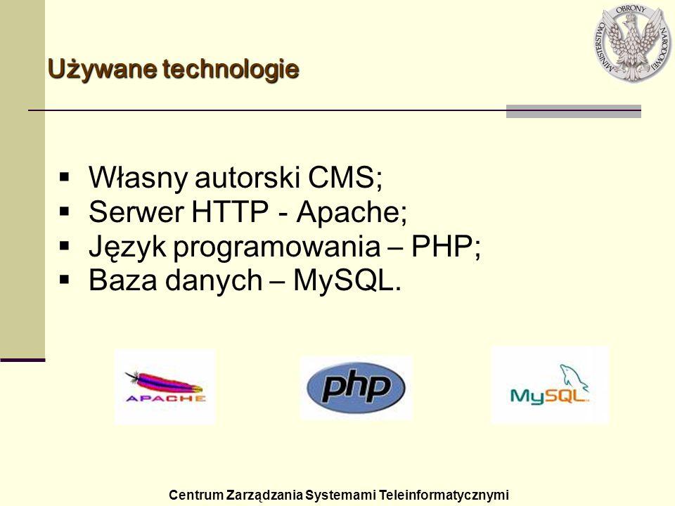 Używane technologie Centrum Zarządzania Systemami Teleinformatycznymi Własny autorski CMS; Serwer HTTP - Apache; Język programowania – PHP; Baza danyc
