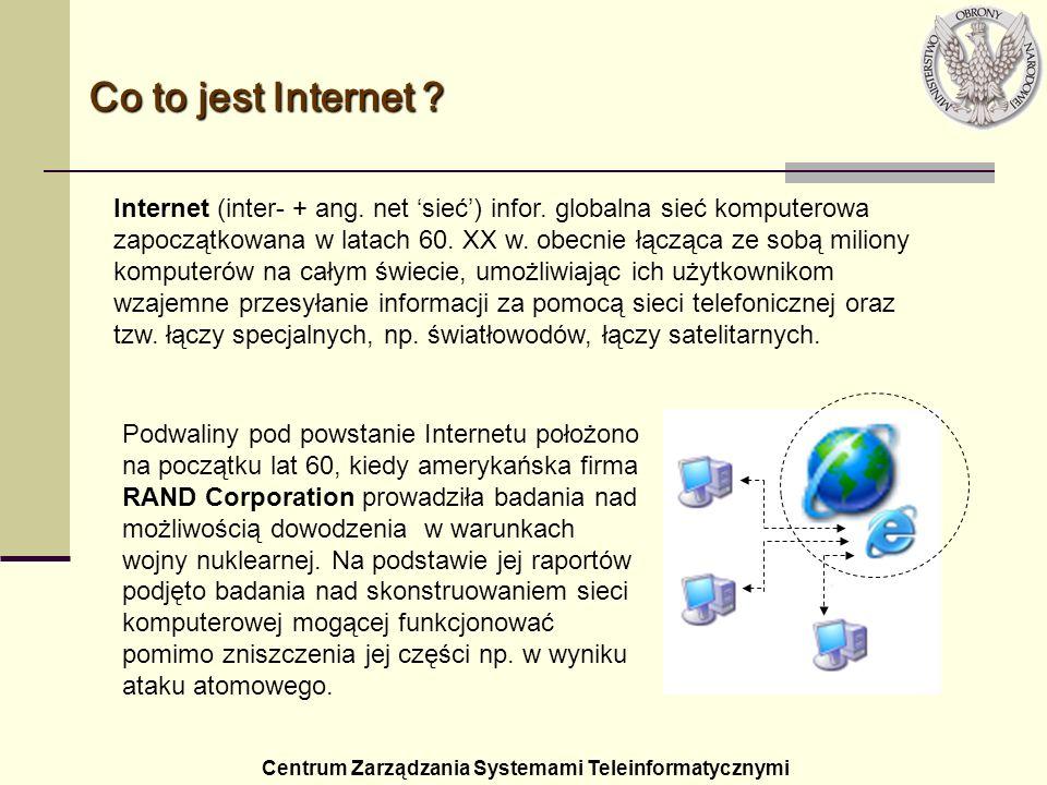 Historia Internetu - inspiracja Centrum Zarządzania Systemami Teleinformatycznymi 1957: ZSRR umieszcza Sputnika na orbicie Ziemi; 1958: w odpowiedzi wewnątrz Departamentu Obrony (DoD) powstaje ARPA (Advanced Research Projects Agency).