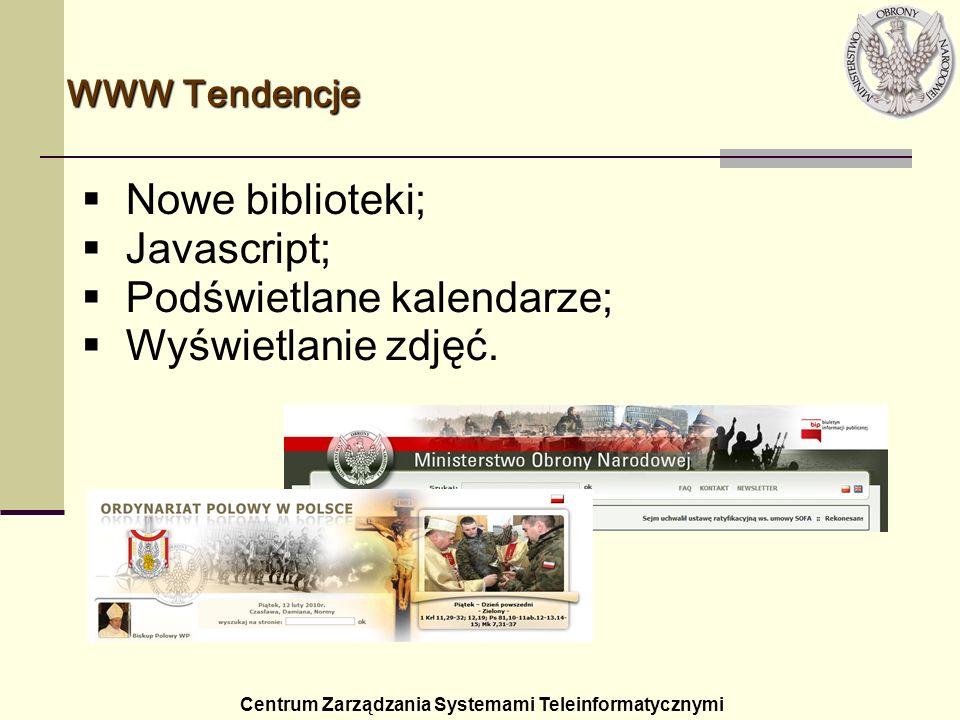 WWW Tendencje Centrum Zarządzania Systemami Teleinformatycznymi Nowe biblioteki; Javascript; Podświetlane kalendarze; Wyświetlanie zdjęć.