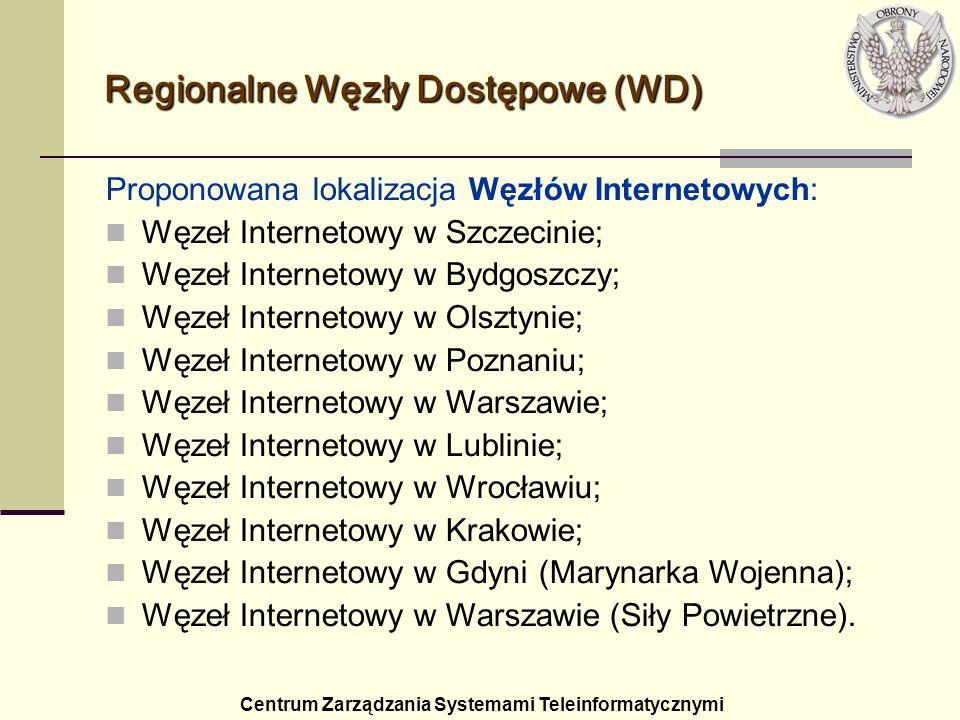 Regionalne Węzły Dostępowe (WD) Proponowana lokalizacja Węzłów Internetowych: Węzeł Internetowy w Szczecinie; Węzeł Internetowy w Bydgoszczy; Węzeł In