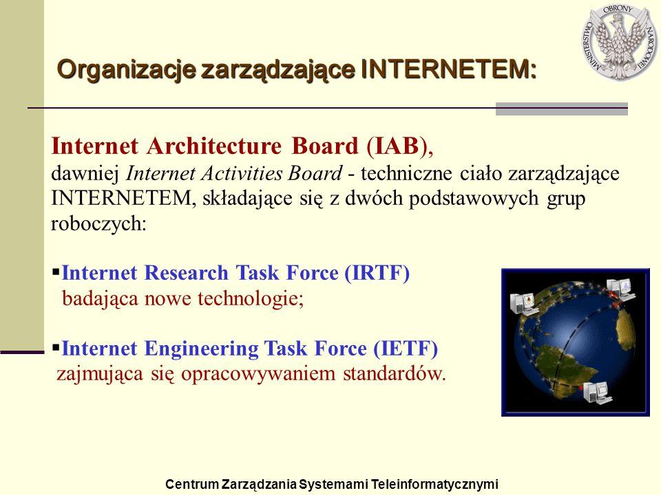 Centrum Zarządzania Systemami Teleinformatycznymi Organizacje zarządzające INTERNETEM: Internet Architecture Board (IAB), dawniej Internet Activities
