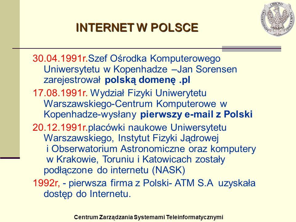 Centrum Zarządzania Systemami Teleinformatycznymi INTERNET W POLSCE 30.04.1991r.Szef Ośrodka Komputerowego Uniwersytetu w Kopenhadze –Jan Sorensen zar
